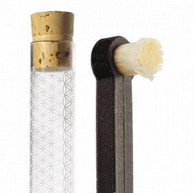 Přírodní kartáček + násada + skleněné pouzdro + zubní nit YONI