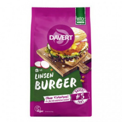 6 x Davert Bio Čočkový Burger s kari, 160g