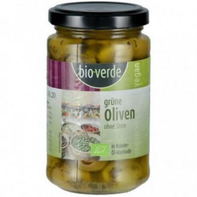 6 x BioVerde Bio Zelené olivy bez pecek, 200g