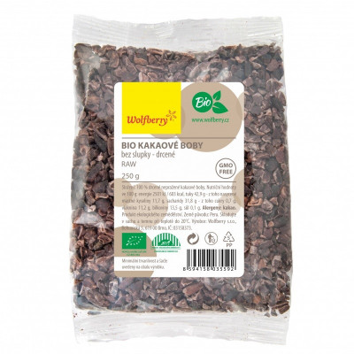 Kakaové boby drcené BIO 250 g Wolfberry
