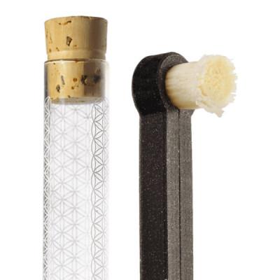 Přírodní kartáček + násada + skleněné pouzdro + zubní nit...