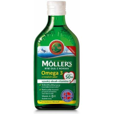 MÖLLERS Omega 3 50+ olej z tresčích jater s citronovou...